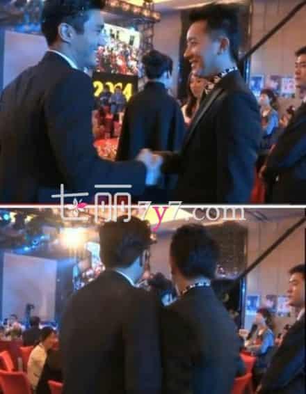 崔始源与韩庚在成龙生日会上见面 握手微笑交