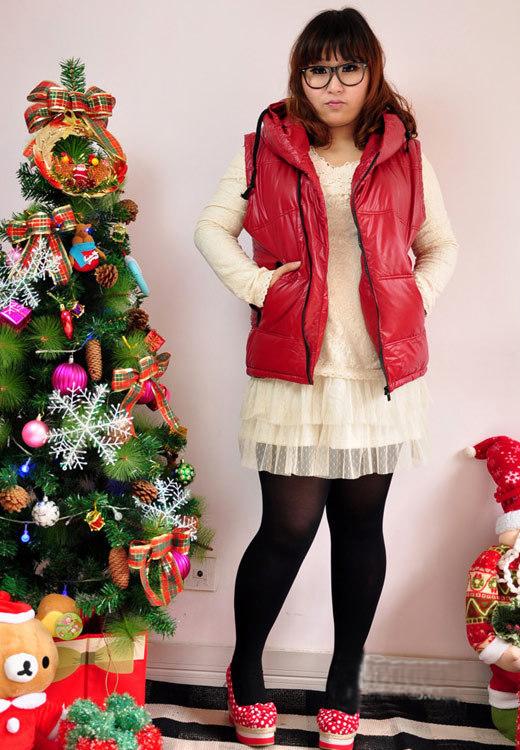 胖女孩冬季穿衣服装搭配图片