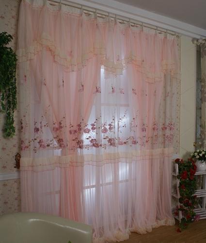飘窗窗帘图片 打造春天清爽女孩卧室窗帘效果图