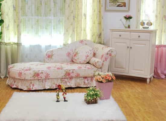 小户型欧式田园风格碎花布艺沙发床