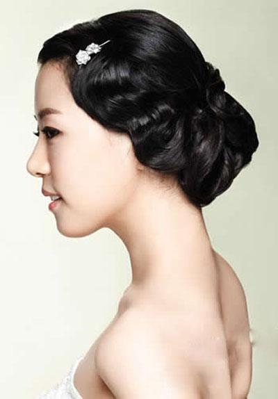 高贵优雅韩国盘发 韩式新娘发型图片 (8)图片