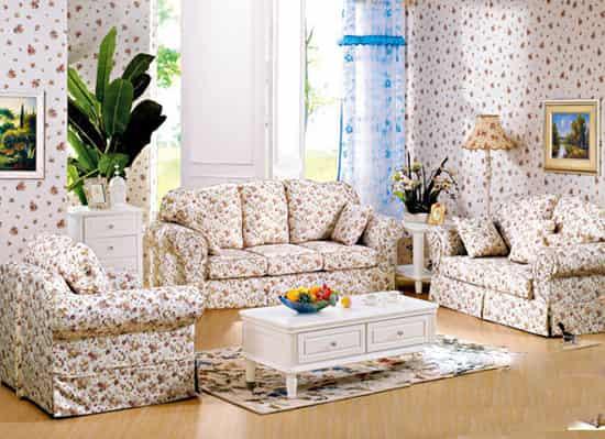 小户型田园风格小碎花布艺沙发图片
