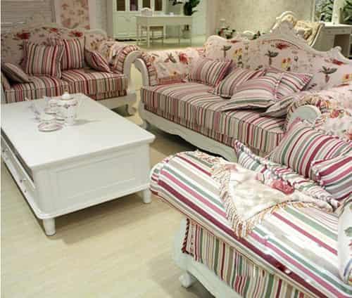 高档欧式家具品牌 粉白色小碎花女生最爱