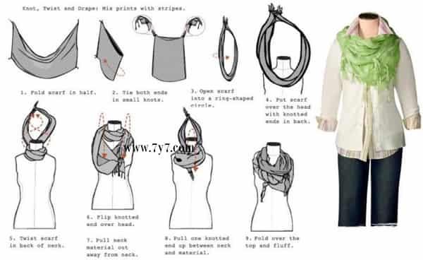 方巾的系法图解 围巾系法 方巾的系法
