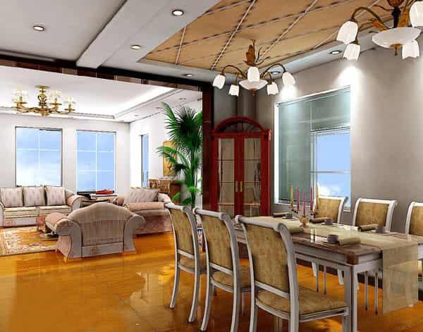 新中式欧式风格大客厅餐厅装修效果图pk