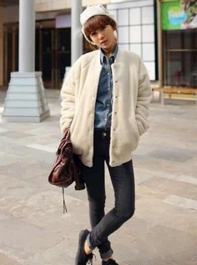 韩国街拍美女冬季潮流穿搭