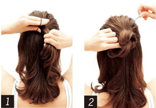 简单韩式盘发扎法图解 四款发型浪漫不失气质 (5)