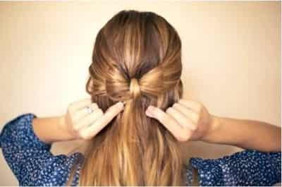 甜美蝴蝶结气质编发发型步骤图解