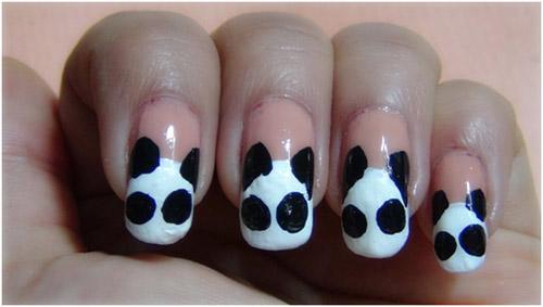 可爱熊猫美甲图片教程 双手指尖萌翻天 (3)