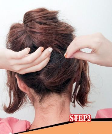 短发发型盘发扎法图解 一步塑造显瘦气质女人图片