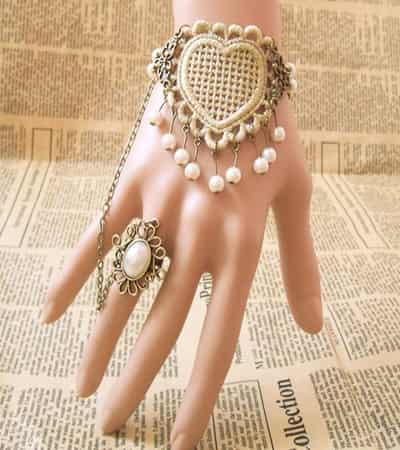 洛丽塔蕾丝戒指手链腕带 宫廷复古风尽显 (6)