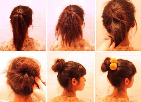 步骤一:首先我们把头发梳理顺,扎成一个简单的马尾辫。 步骤二:接着拿一把梳子把马尾倒刮打毛,会让接下来的造型更加的自然,更加好操作。 步骤三:然后把打毛好的头发,用手抓住根部,稍稍扭转一下。 步骤四:把抓住的发尾往上旋转起来,如图所示缠绕起来。 步骤五:扭转成一个丸子形状就用黑色的一字夹固定起来,大小由自己喜欢而调节。 完成效果图:最后取一个自己喜欢的发饰发圈固定在丸子头的侧面,一款卡哇伊清爽丸子头发型就完成啦!打造最闪亮的你。