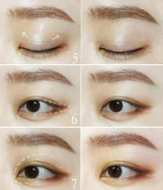 步骤6:在虚线范围内均匀晕染深棕色的眼影.