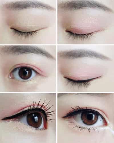 日系可爱大眼妆画法 深邃眼窝or甜美卧蚕  step2:指腹蘸取金色眼影,在