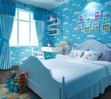 絢麗多彩兒童房墻紙效果圖 炫出寶寶美好未來 (4)