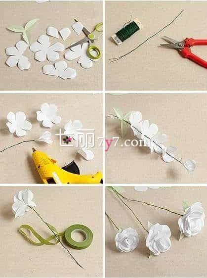 废物利用创意手工diy 教你折纸玫瑰捧花的做法
