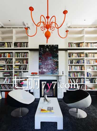 书房设计装修效果图 整面墙书柜特别棒