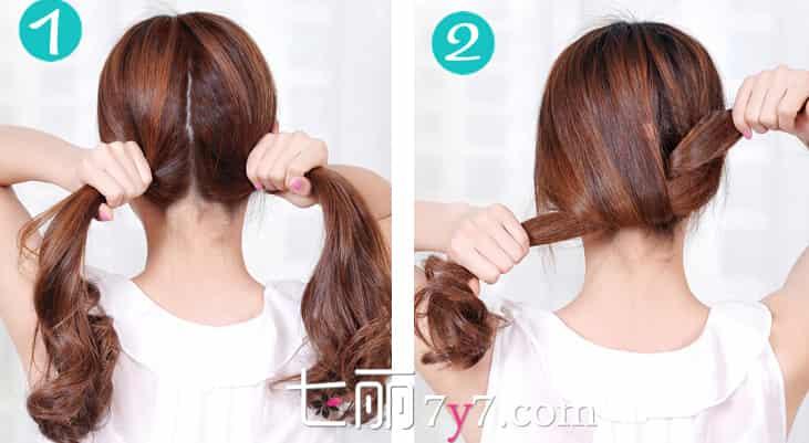 简单中长发盘发发型步骤