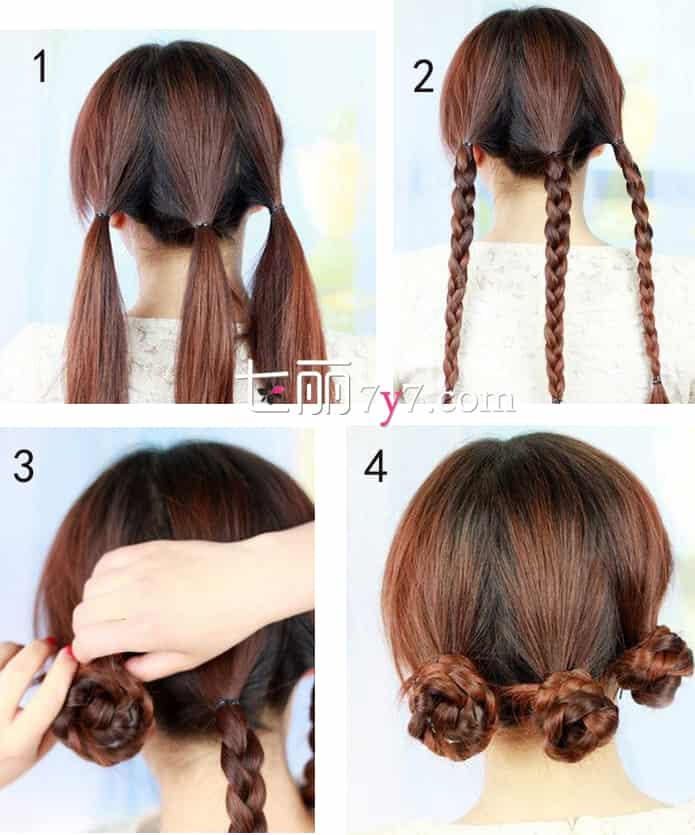 完成效果图:这款发型看起来非常的清新,而且透着可爱感,很适合小女生,百搭的发型盘法也非常的简单,下面就来学习编法步骤,教你轻松打造韩式编发发型。  Step1:首先把头发全部梳顺,然后将头发全部都拢在一起,然后分成三个区域,扎成三个马尾辫。注意扎马尾时可以扎得低一些,可以看起来会更加的自然优雅。 Step2:然后再把三个马尾辫,按照普通的麻花辫的编法编织出三条长辫子,在辫子的末端用橡皮筋固定即可。 Step3:接着再把辫子缠绕在头发上用黑色的发夹固定。 Step4:这是三条辫子盘好的效果,最后再配上自己