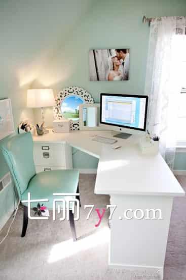 小书房简约装修设计图 纯白色调更能静下心 (4)
