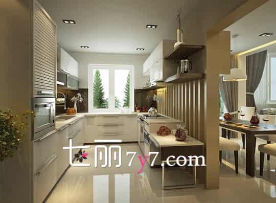 厨房是个创造美食的地方,更能创造幸福,橱柜作为现代时尚的一个标志,它的存在感是有目共睹的,在装修中占据很大的位置。今天分享一组宽敞设计的厨房装修效果图,空间大行动更加的方便,同时增加厨房的内涵。  半开放式厨房 大理石的吧台给出清凉干净的感觉,隔断在厨房和餐厅之中,成为闪亮的点睛之笔。