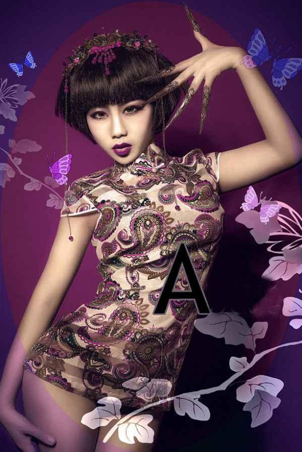 古典旗袍美女性感写真图片 妖艳紫唇魅惑至极