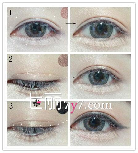 步骤2 :使用棕色眼影在双眼皮褶皱的位置晕染