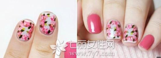 美甲玫瑰花简单画法 简单3步打造甜美浪漫玫瑰花图案