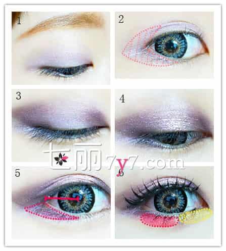 紫色眼影搭配画法教程