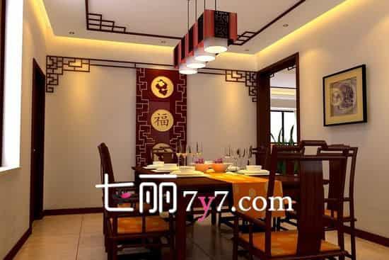 朱红色木质餐桌椅,带着满满的古朴气息,配上红色吉祥图案的餐桌布和坐垫,彰显低调的奢华感。精致的暖色系灯饰,使整个空间硬朗而又华丽、优雅。餐厅的装修又是木质镂空隔断,大气经典。整个空间展现出一种富丽堂皇的感觉。  相比之前那间餐厅,这个就清新淡雅得多。深色圆形餐桌,配上线条柔美的靠背椅,打造出更好的沉稳效果。整个布局没有过多的装饰,一副梅花装饰画,纸糊的吊灯与整体交相呼应,还带有一些时尚感。 扩展阅读: