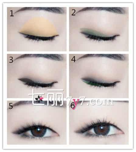 单眼皮眼影画法 步骤1:用大号眼刷沾棕色眼影涂抹整个眼框,做为打底色,打底色为基础色,是不需要太浓,淡淡的一笔即可。 步骤2:用短毛眼影刷沾深棕色眼影在眼尾2/3位置画出眼线,眼尾也需要拉一小段,并小范围晕染。 步骤3:选择扁平晕染刷沾最深的棕色眼影眼尾拉长的部分,加深眼线的存在感。 步骤4:用小号眼影刷沾珠光色棕色眼影在下眼尾进行晕染,并且粘贴假睫毛,刷上睫毛膏,眼妆即刻完成。 步骤5-6:单眼皮完成妆容图片,单眼皮的魅力绽放就是需要戴上假睫毛,如此眼睛会显得格外长而大。 扩展阅读: