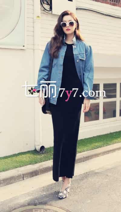 牛仔外套搭配图片,牛仔外套怎么搭配长裙,牛仔外套搭配长裙图片