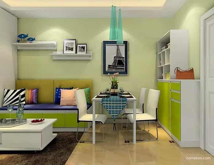 特色:半高隔断柜+电视柜组合 客厅采用半高隔断柜+电视柜组合隔开,在飘窗处布置了飘窗柜体,增加收纳空间。整体清新自然,简约时尚。   特色:榻榻米休息区 在客厅位置设计一个榻榻米休息区,可当做休闲区使用,也是一个办公区,达到一举多用;利用矮柜当做沙发,同时也是餐厅的餐椅。最大化的利用了空间,实现多功能。 拓展阅读: