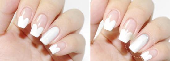 完成图 这款白色的新娘美甲,使用了心形元素和钻,心形是爱情的象征,钻则是衬托新娘的美丽。很适合白色婚纱的新娘。  美甲步骤 开始前先准备一瓶白色甲油、一瓶银色珠光甲油、一些水钻即可。 STEP1:用白色甲油按照刷子的形状,直接画出一条即可。 STEP2:然后继续画另外一半,这样就变成一颗自然的爱心啦。  继续画爱心及边框 STEP3:给食指和小拇指也画上爱心后,大拇指和无名指都用白色甲油涂满。 STEP4:无名指指甲尾端的部分用银灰色珠光甲油画出边框。  给爱心画边框、贴水钻 STEP5:给爱心也画上银色