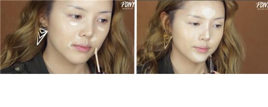 大眼妆完成图  大眼妆化妆步骤 底妆部分 先用指腹蘸取适量粉底液轻轻点涂在整个脸部,然后用指腹轻轻揉搓开;然后用圆头大粉刷蘸取手心里的粉底液,均匀涂抹在整个脸部。 使用产品:CHOSUNGAH22便携式按压粉底液,SPF50 PA+++,#1亮肤色。兰蔻(LANCOME)菁纯臻颜极致再生精华粉液,#110-=PO 粉调第2白,适合肤色白或是肤色偏白想要粉嫩效果的童鞋使用。  将遮瑕液轻轻点涂在黑眼圈、鼻孔外侧、嘴角等部位,然后用指腹轻轻拍打开;用扁头小粉刷蘸取少量裸妆膏(当做高光用)轻轻点涂在T区和下巴,