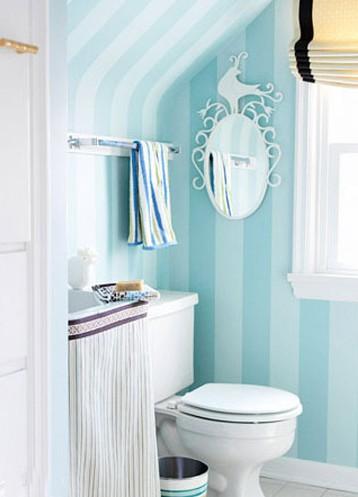 2011年整体卫浴间墙纸装修设计图打造浪漫浴室