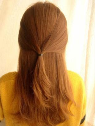 韩式编发盘发步骤,中长发发型扎法打造仙女气质图片