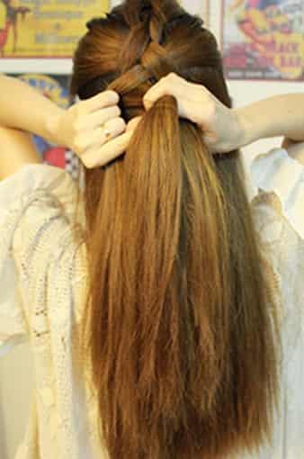 韩式超简单编发图解 优雅淑女范长直发发型图片