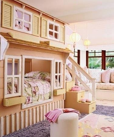 女生卧室装修效果设计图 给你不同风格嵌入式的窝