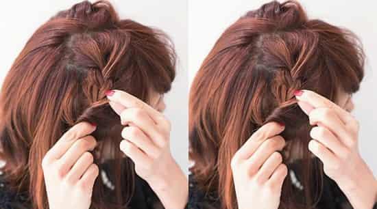 日系甜美短发编法,可爱女生的浪漫发型图片