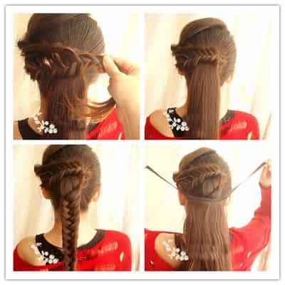 韩式简单马尾辫发型扎法 三分钟diy俏皮公主发型
