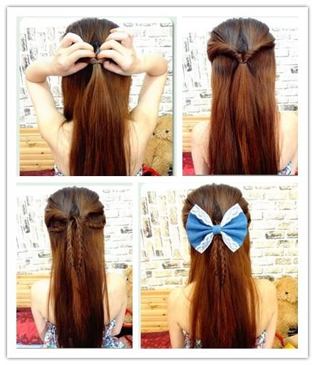 夏季甜美简单扎法 中长发发型靓丽惹人爱图片
