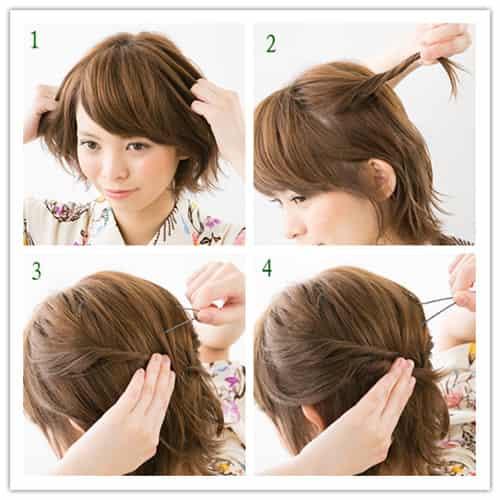 短发怎样弄好看 淑女范短发扎发发型图片