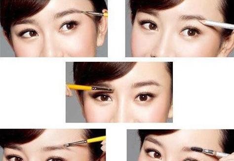 步骤2:如果眉毛比较稀少,先用眉刷沾取眉膏填充出完整的眉形,尤其要