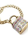 Chanel香奈儿斜纹软呢挂锁项链 个性前卫