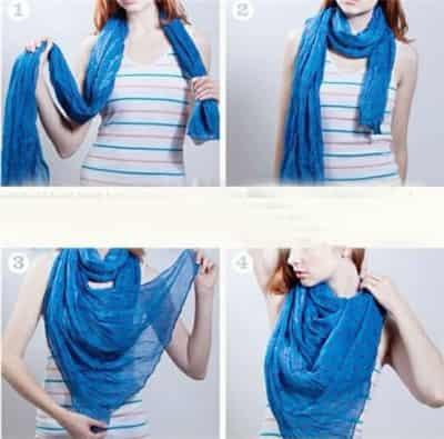 长方丝巾的系法图解 简单小技巧变换新造型图片