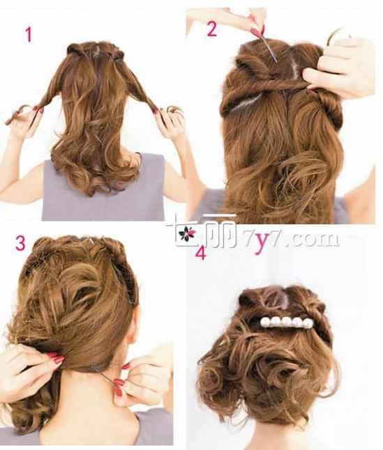 中长发卷发发型怎么扎好看,韩式蓬松盘发显气质图片