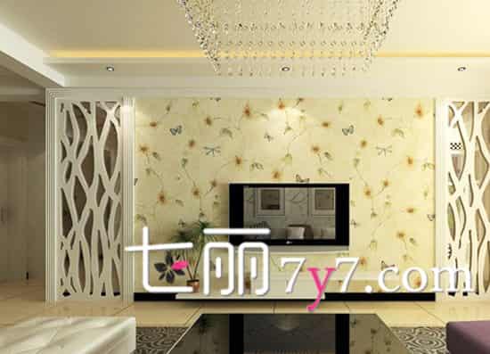 电视背景墙的设计延续了茶几的元素