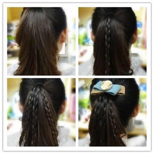 马尾辫编发教程图解 活力青春学生妹发型