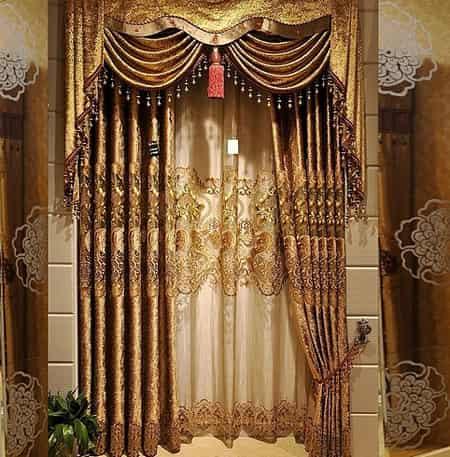金色欧式窗帘效果图大全
